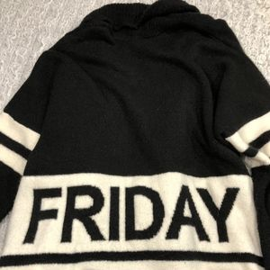 Oversized Black & Cream Mango Sweater w/o buttons
